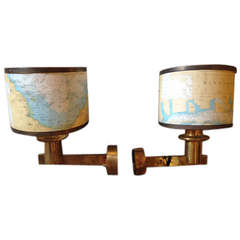 Pair of Mid-Century Ship's Brass Sconces with Vintage Chart Shades