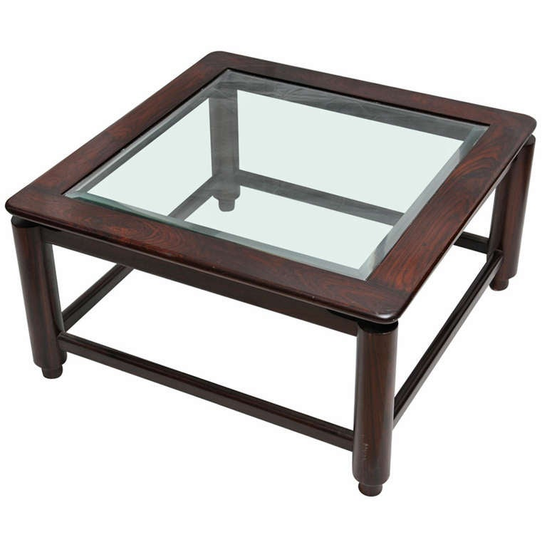 British Colonial Rosewood Coffee Table With Bevelled Gl Circa 1950s For