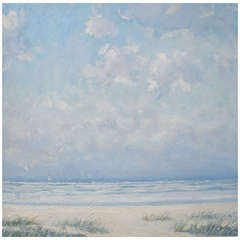 "Robert Jones ""Surfside Summer"" Oil on Board Seascape Painting"