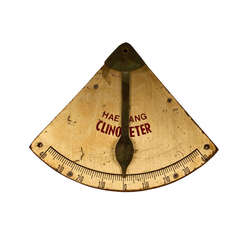 Nautical Antique Brass and Wood Clinometer
