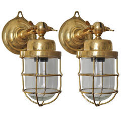 Pair of Ship's Brass Passageway Lights, Mid-Century