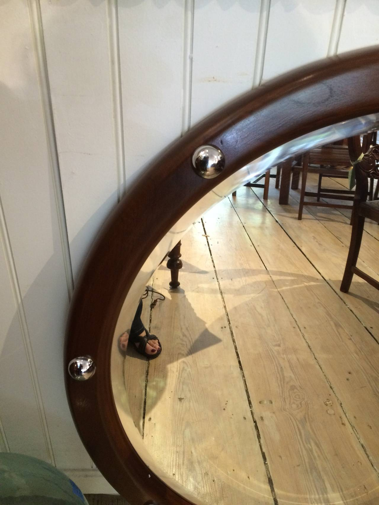 Beveled Teak and Chrome Ship's Stateroom Mirror, Mid-Century