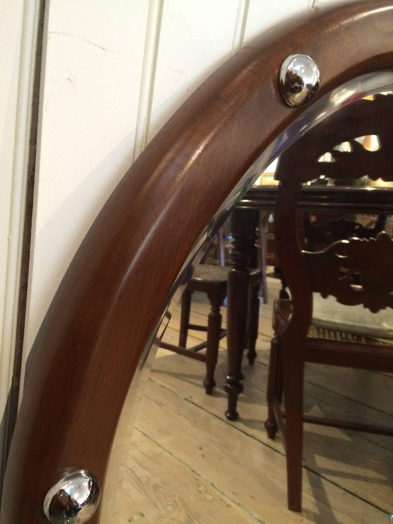 European Teak and Chrome Ship's Stateroom Mirror, Mid-Century