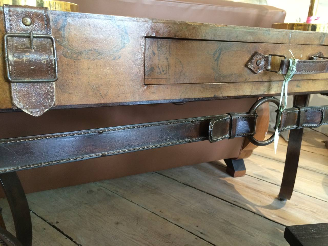 20th Century World Map Suitcase Table with Leather Straps and Buckles For Sale