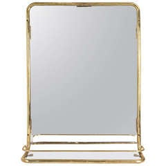 Mid-Century Ship's Stateroom Brass Mirror with Shelf