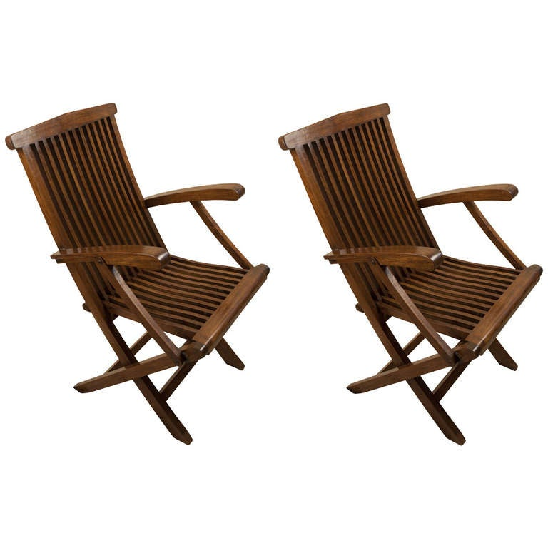 four teak folding deck chairs from mid century cruise ship at 1stdibs