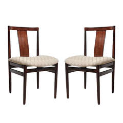 Pair of Mid Century Modern Rosewood Side Chairs with Upholstered Seat