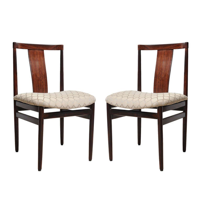 Pair Of Rosewood Side Chairs With Upholstered Seat