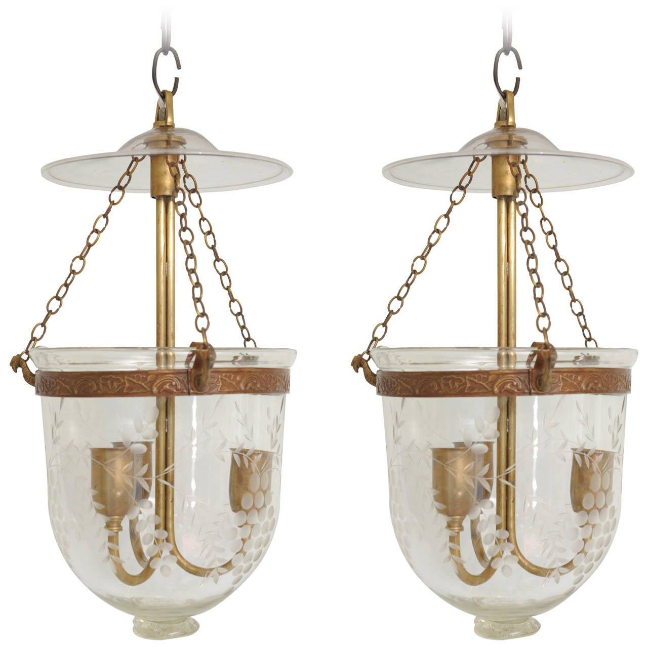 Pair Of Early 20th Century English Bell Jar Hall Lanterns