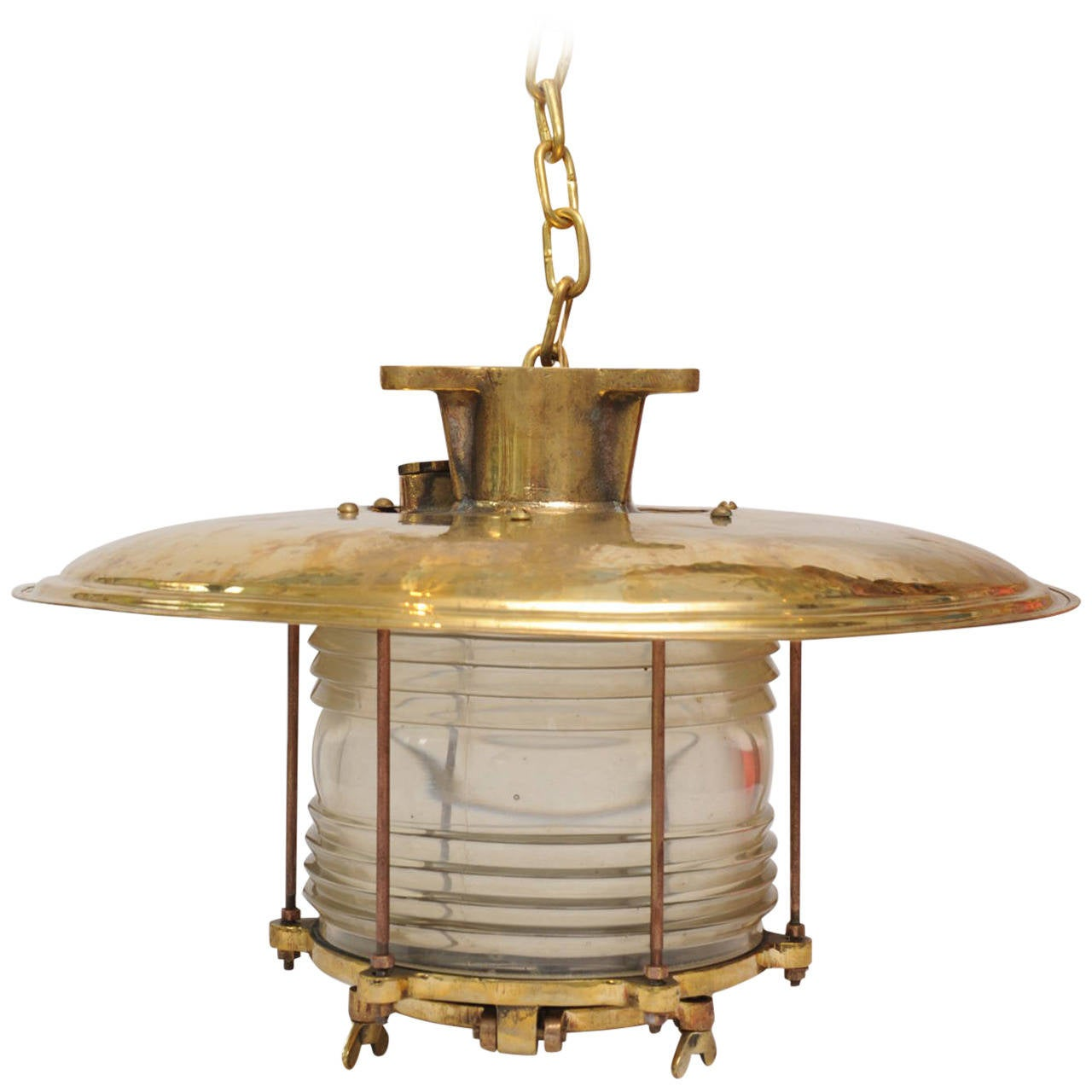 Russian Industrial Pendants: Brass Ship Pendant With Fresnel Lens, Russian, Mid-Century