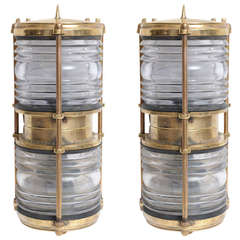 Pair of Rare Bronze American Ship Passageway Lights with Fresnel Lens