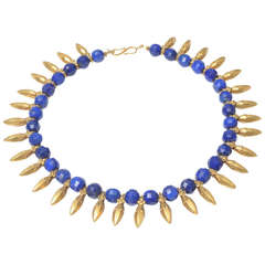 18K Gold and Faceted Lapis Necklace