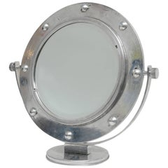 Original Nautical Porthole Converted to an Adjustable Vanity Mirror, Mid-century