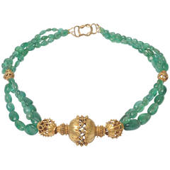 Gold Necklace with Indian Beads and Tumbled Emeralds