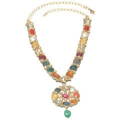 Rare 22-Karat Gold Navarata Gemstone and Enamel Necklace