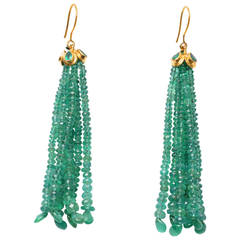 Faceted Emerald and 22-Karat Gold Tassle Earrings