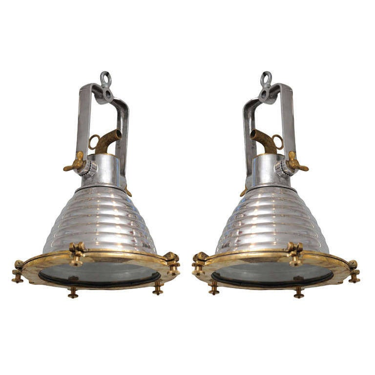 Pair Of Ship's Aluminum And Brass Deck Lights, Mid-Century