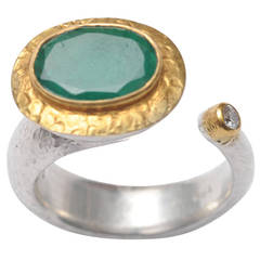 Faceted Emerald Diamond and Hammered 18 Karat Gold and Sterling Ring