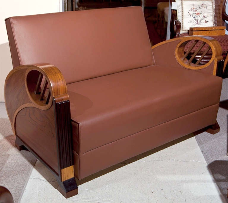 Deco Period Teak Rosewood Satinwood And Leather Loveseat At 1stdibs