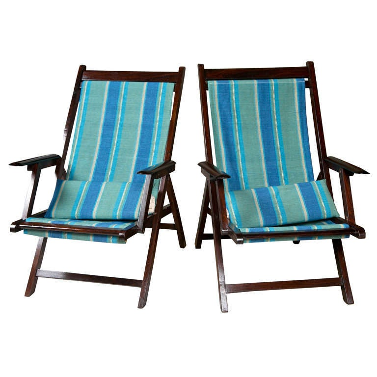 Pair of Colonial British Campaign Folding Rosewood and Canvas Deck Chairs at