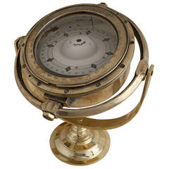 Mid-Century Brass Ship's Compass on Stand