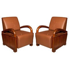Pair of Deco Period Teak and Leather Club Chairs