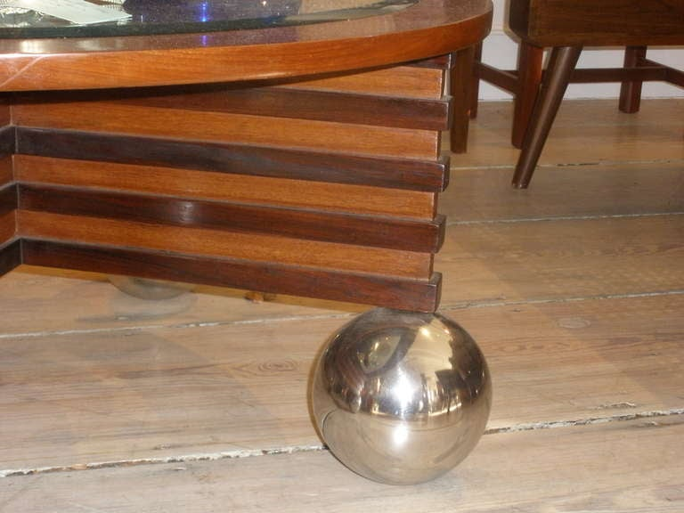 art deco rosewood and teak coffee table with chrome ball. Black Bedroom Furniture Sets. Home Design Ideas