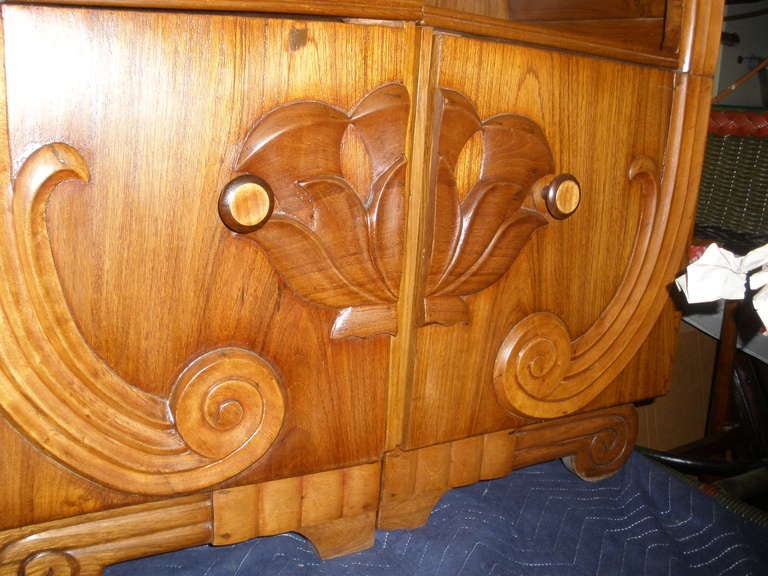 Pair of Deco Period Teak Side Tables with Lotus Design For Sale 2