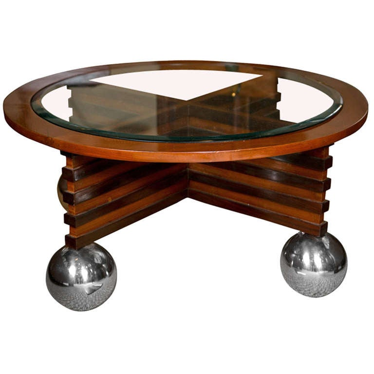 Art Deco Rosewood And Teak Coffee Table With Chrome Ball