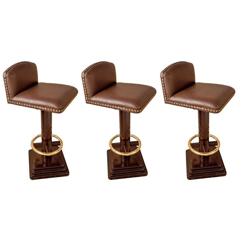 Set of 3 nautical antique rosewood and leather bar stools 1