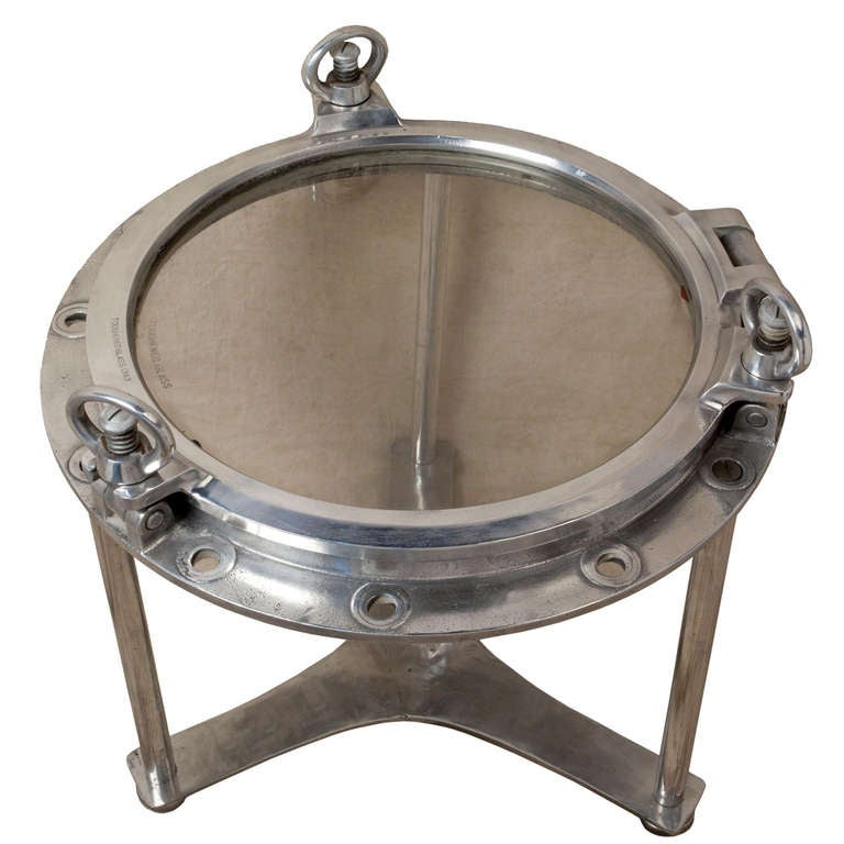 Nautical Antique Ship 39 S Chrome Porthole Converted To A Table At 1stdibs