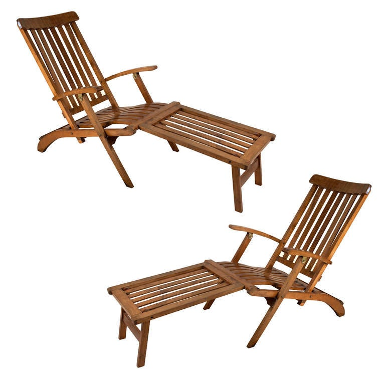Pair Of Nautical Ship S Teak Deck Chairs With Footrest At