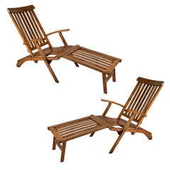 Pair of Nautical Ship's Teak Deck Chairs with Footrest
