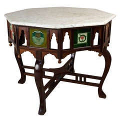 Arts and Crafts Rosewood and Teak Center Table with English Tiles and Marble Top