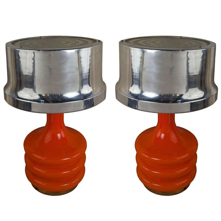 Pair Of Mid Century Coral Glass Table Lamps With Aluminum