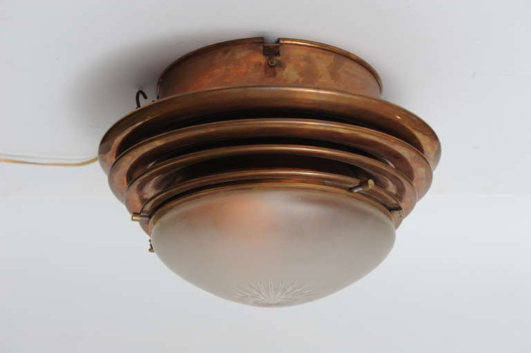 Nautical Antique Ship 39 S Overhead Copper Light Fixture With Frosted Glass