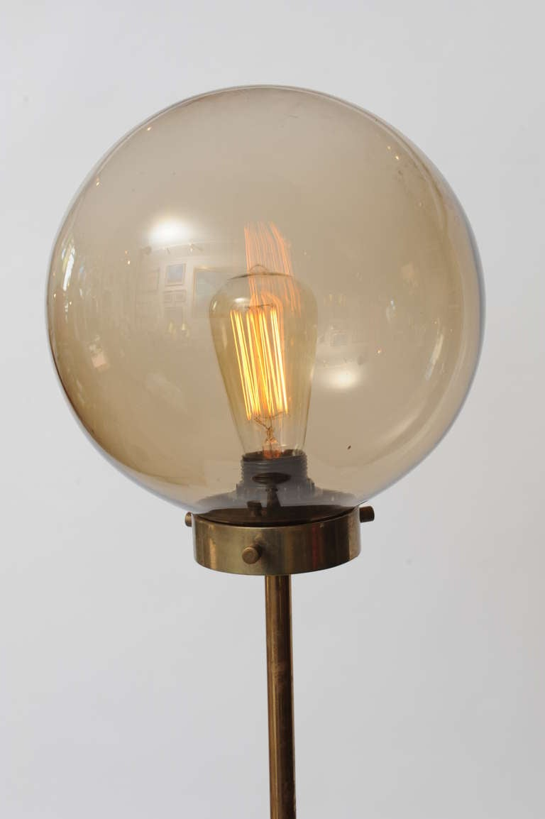 Deco Period Nautical Floor Lamp Teak Base And Smoked Glass Shade Stdibs