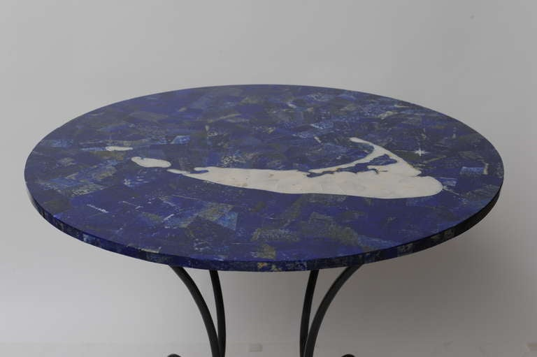 Inlay Lapis, Mother-of-Pearl and Marble Map of Nantucket on Iron Base In Excellent Condition For Sale In Nantucket, MA