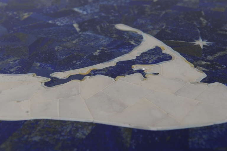20th Century Inlay Lapis, Mother-of-Pearl and Marble Map of Nantucket on Iron Base For Sale