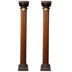 Pair of Solid Mahogany Colonial British Columns, C. 1900