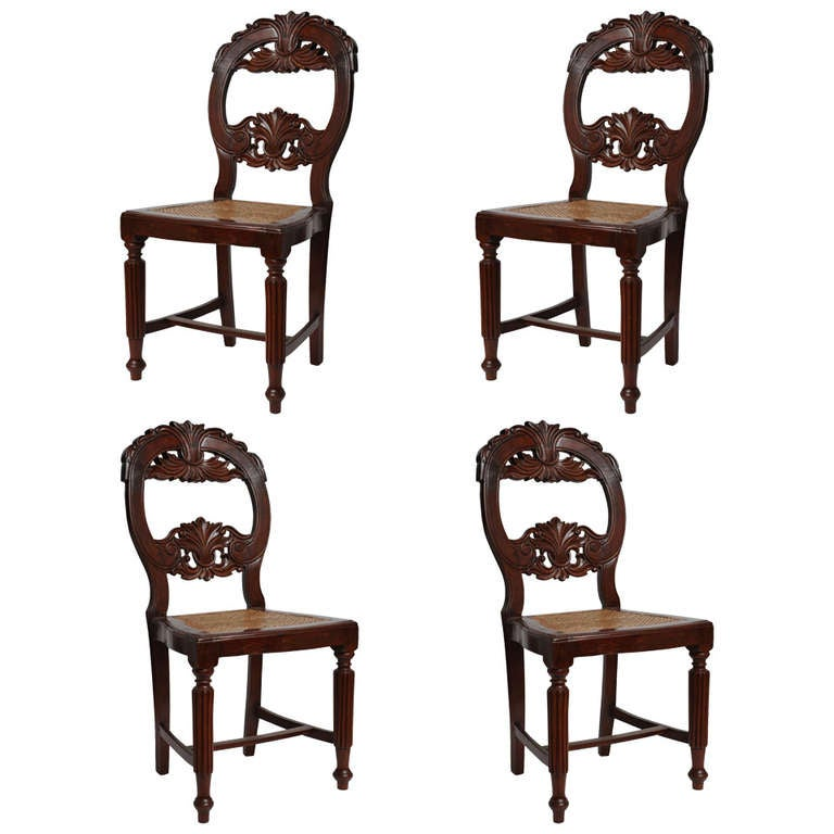 Set of Four Rare 19th Century Portuguese Goa Rosewood Dining Chairs