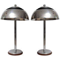 Pair of Nautical Antique Chrome Ship's Table Lamps