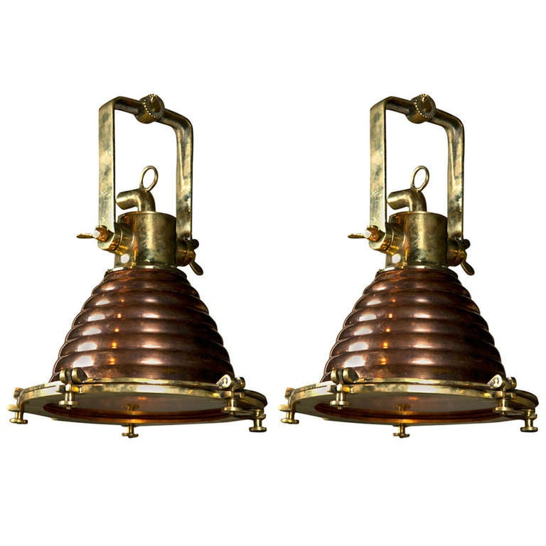 Modern Copper Ring Led Pendant Lighting 10758 Shipping: Pair Of Mid Century Nautical Ship's Deck Lights Made Of