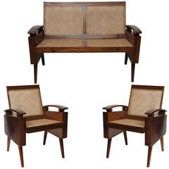 Mid-Century Suite of Three Teak Chairs and Loveseat in Style of George Nakashima