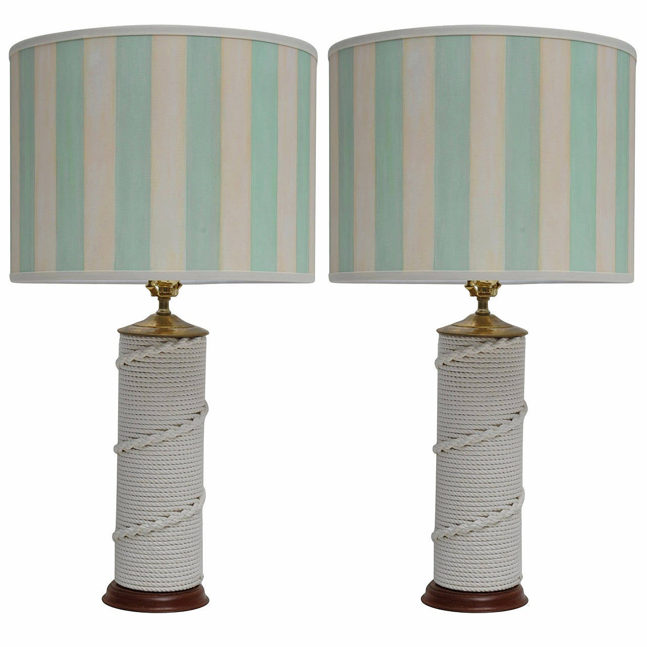pair of nautical rope work table lamps at 1stdibs. Black Bedroom Furniture Sets. Home Design Ideas