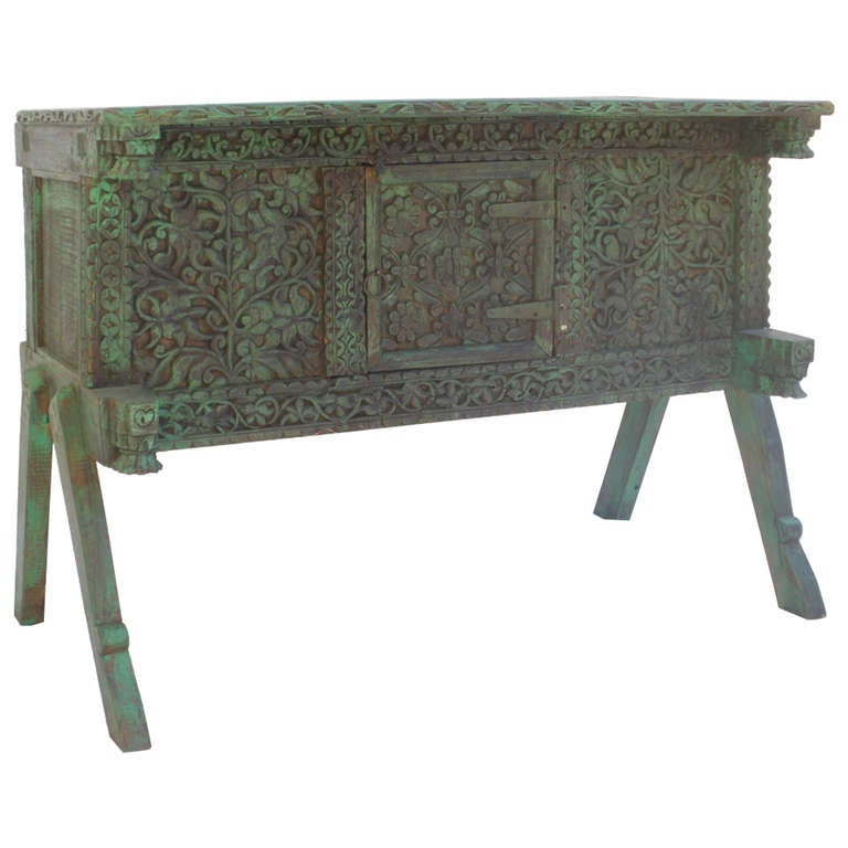 Early 1900 39 s indian carved cabinet console or sofa table for Sofa table cabinet