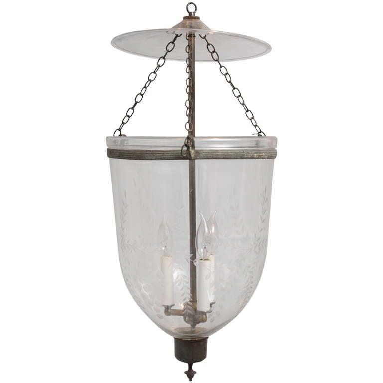 Late 19th C English Bell Jar Hall Lantern Electrified At