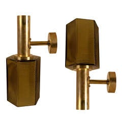 Pair of Nautical Ship's Passageway Brass sconces with Amber Glass Shades