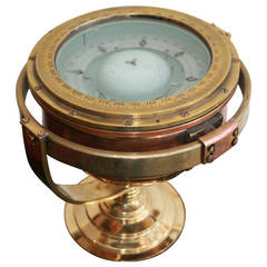 Gimbled Ship's Brass Compass on Custom Stand, Mid-century