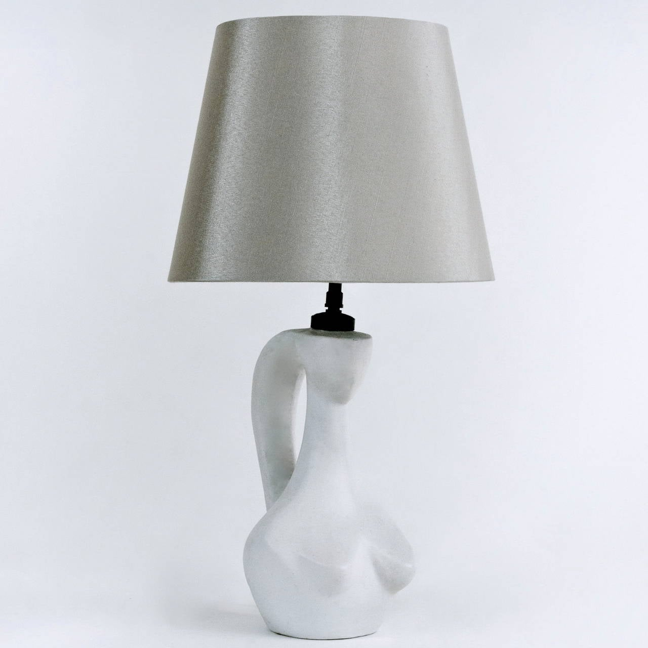 white ceramic table lamp base by jacques blin at 1stdibs. Black Bedroom Furniture Sets. Home Design Ideas